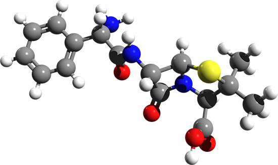Строение молекулы амоксициллина