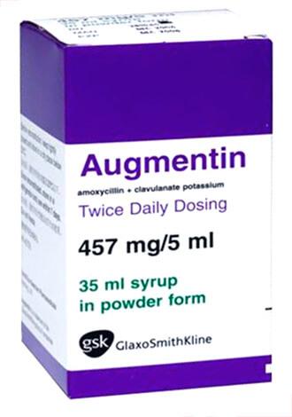 В препарате Аугментин амоксициллин оказывается защищен от действия бактериальных ферментов клавулановой кислотой.