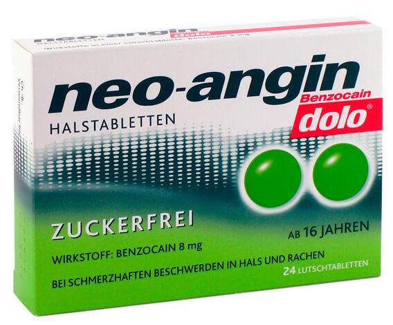 Упаковка Нео-Ангина, реализуемого в Германии.