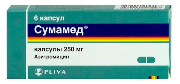 Сумамед, упаковка препарата на 6 капсул
