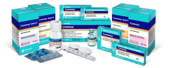 Сумамед продается в виде капсул, таблеток, порошка для приготовления суспензии и раствора для инъекции.
