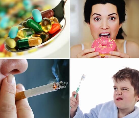 Пренебрежение гигиеной ротовой полости в сочетании с курением и поеданием сладкого способствует активному размножению болезнетворных бактерий.